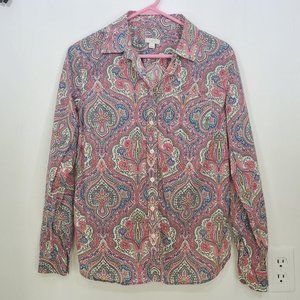 Talbots Paisley Button Up Top Pink Periwinkle S